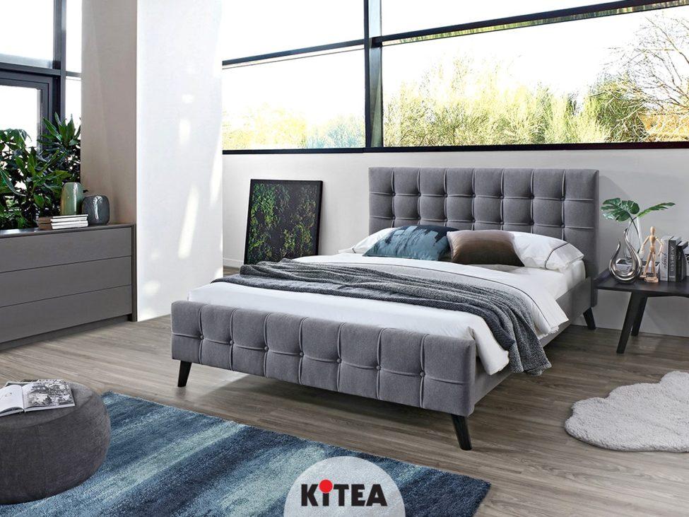 Promo Kitea Lit tapissé FELIPE 3450Dhs au lieu de 3950Dhs