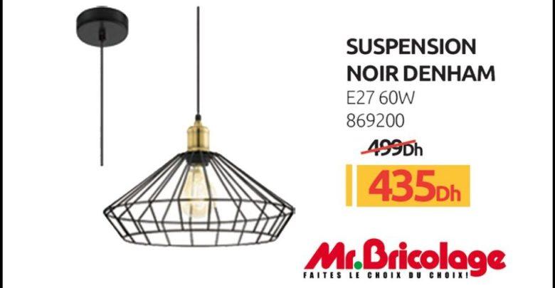 Promo Mr Bricolage Maroc Suspension noir DENHAM 60W 435Dhs au lieu de 499Dhs