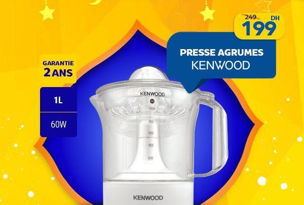Promo Marjane Presse-agrumes KENWOOD 1L 60W 199Dhs au lieu de 249Dhs