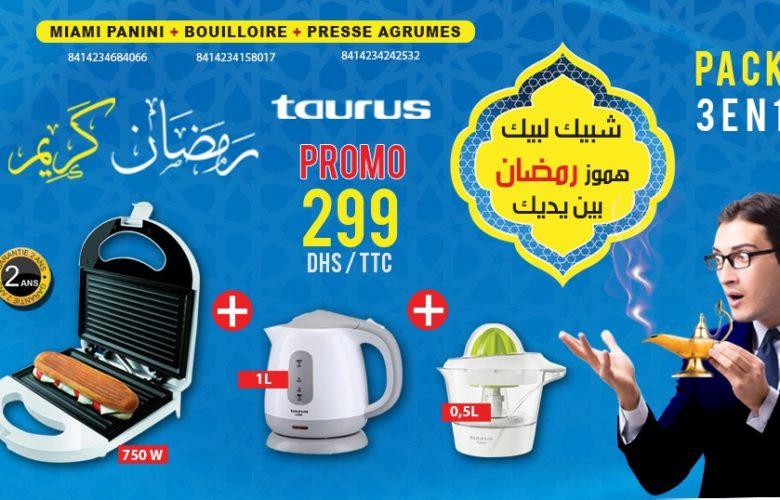 Promo Electro Bousfiha Pack Panini Bouilloire Presse-agrumes Taurus 299Dhs