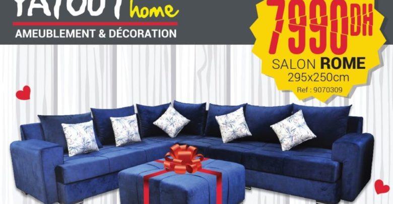 Photo of Promo Yatout Home Salon ROME + pouf 7999Dhs au lieu de 9990Dhs