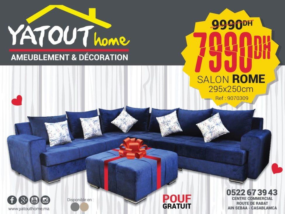 Promo Yatout Home Salon ROME + pouf 7999Dhs au lieu de 9990Dhs