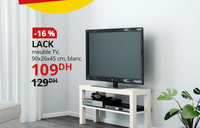 Promo Ikea Maroc Meuble TV blanc LACK 109Dhs au lieu de 129Dhs
