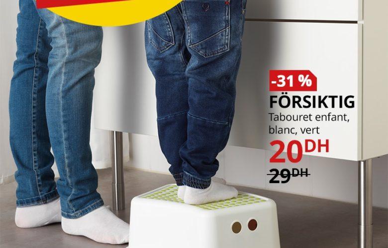 Soldes Ikea Maroc Tabouret enfant blanc vert FORSIKTIG 20Dhs au lieu de 29Dhs