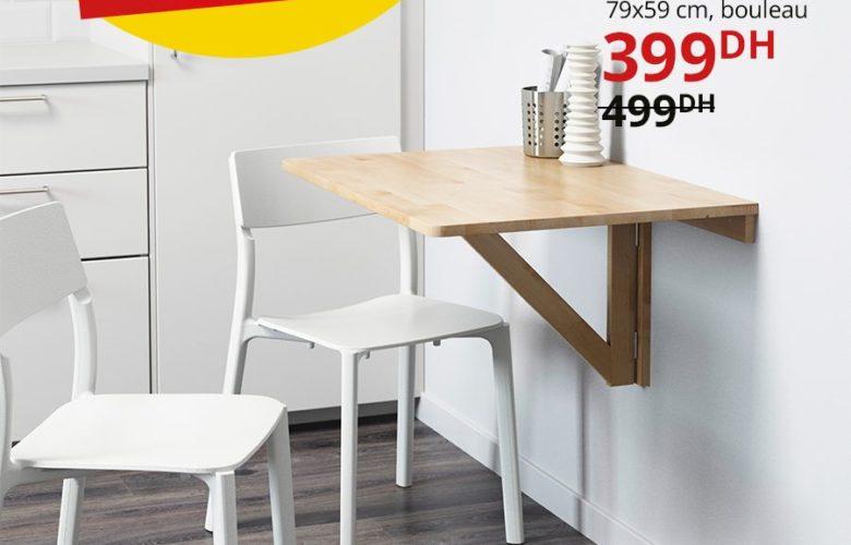 Promo Ikea Maroc Table murale à rabat NORBO 399Dhs au lieu de 499Dhs