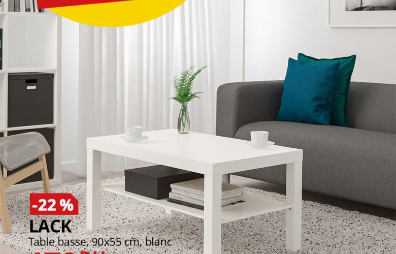 Promo Ikea Maroc Table basse blanc LACK 179Dhs au lieu de 229Dhs