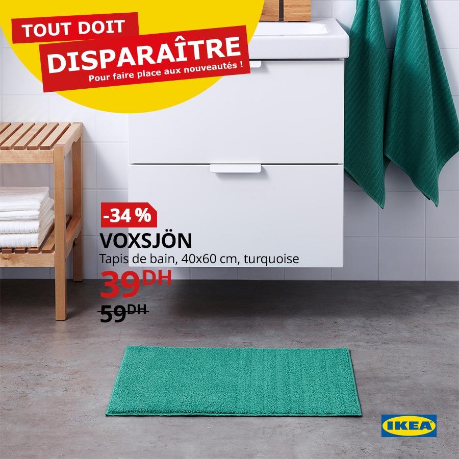 Promo Ikea Maroc Tapis de bain turquoise VOXSJON 39Dhs au lieu de 59Dhs