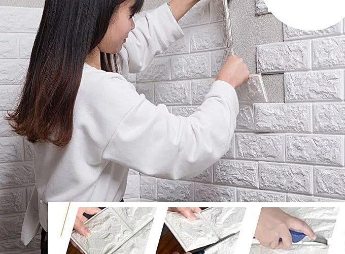 Offre Jumia Papier Mural Adhésif En Brique 3D Décoration 77/70 Blanc 36Dhs au lieu de 149Dhs