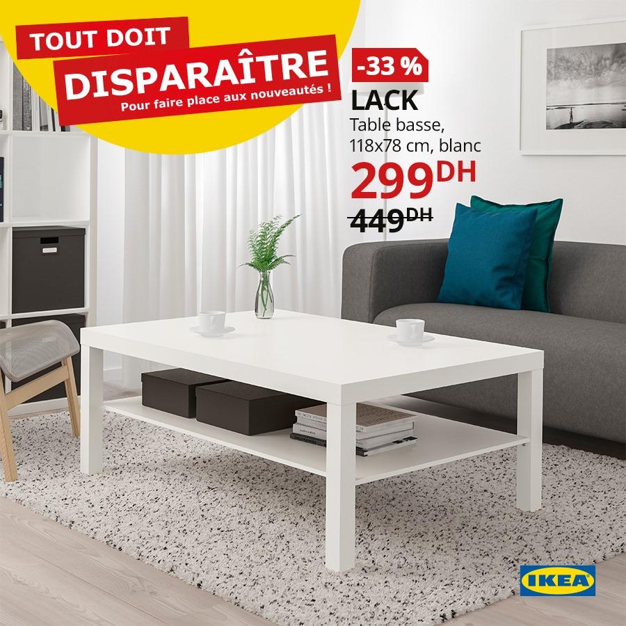 Promo Ikea Maroc Table basse LACK 299Dhs au lieu de 449Dhs