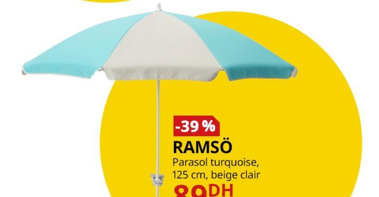 Photo of Promo Ikea Maroc Parasol turquoise RAMSO 89Dhs au lieu de 145Dhs