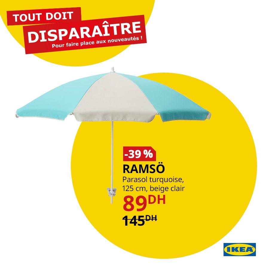 Promo Ikea Maroc Parasol turquoise RAMSO 89Dhs au lieu de 145Dhs