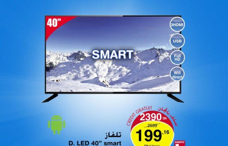 Promo Carrefour Maroc Smart TV 40° FULLTECK 2390Dhs au lieu de 2590Dhs
