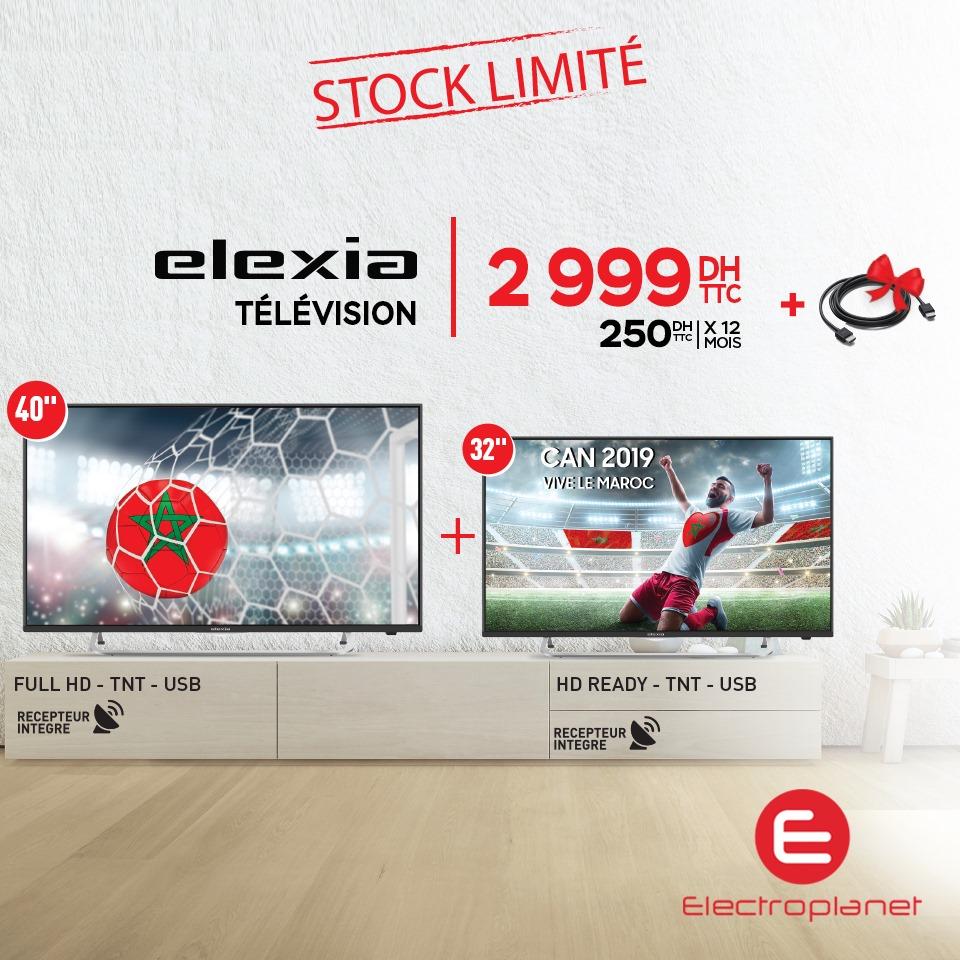 Promo Spéciale Electroplanet 2 TV LED HD avec récepteur intégré ELEXIA 2999Dhs