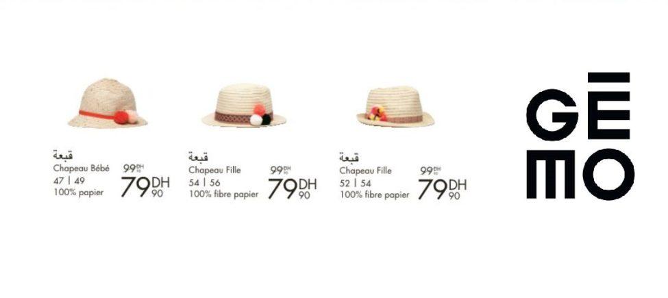 Promo Gémo Maroc Chapeau bébé et fille 79Dhs au lieu de 99Dhs