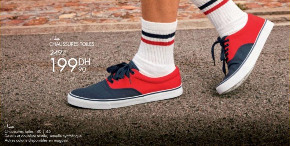 Promo Gémo Maroc Chaussures Toiles Hommes 199Dhs au lieu de 249Dhs