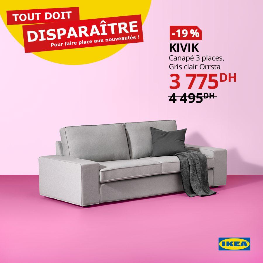 Promo Ikea Maroc Canapé 3 places KIVIK 3775Dhs au lieu de 4495Dhs