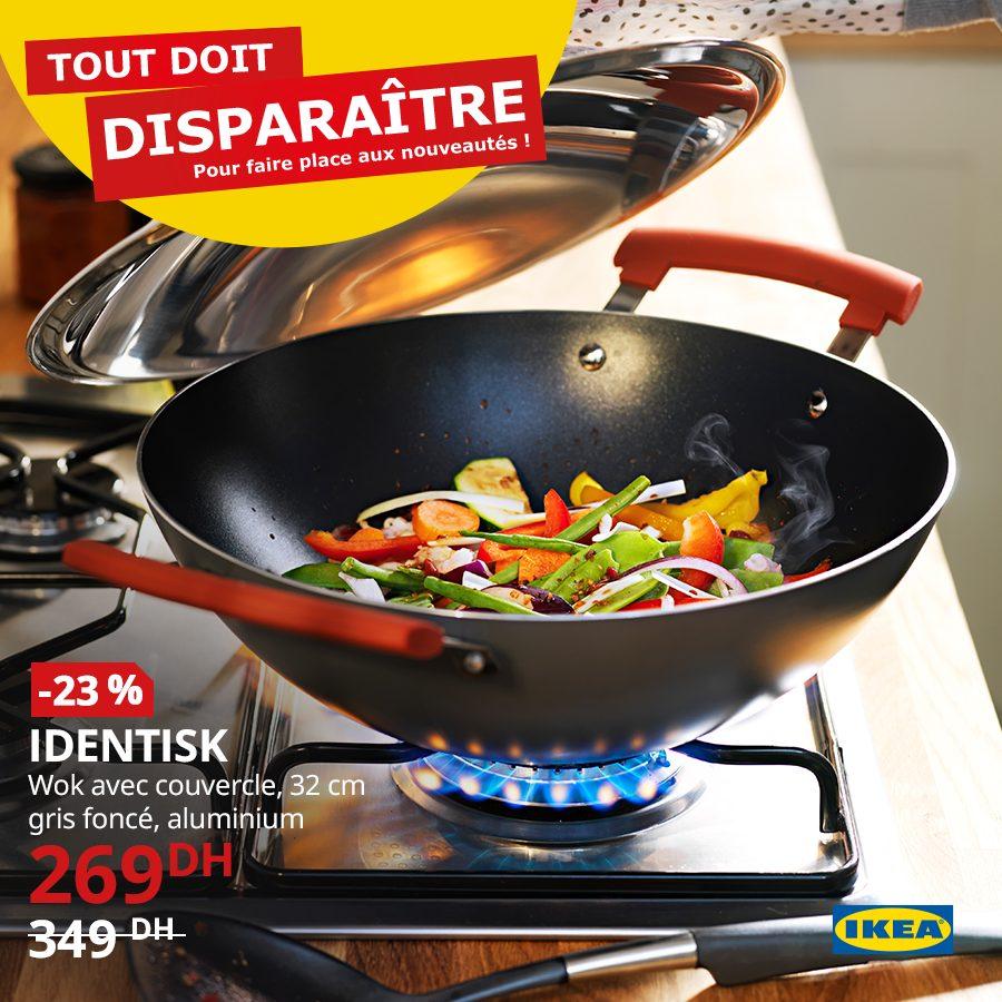 Promo Ikea Maroc Wok avec couvercle 32cm IDENTISK 269Dhs au lieu de 349Dhs