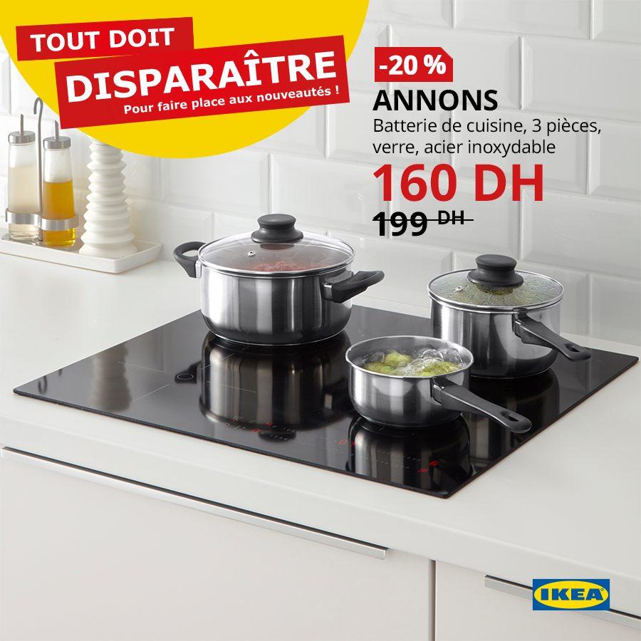 Promo Ikea Maroc Batterie de cuisine 3 pièces ANNONS 160Dhs au lieu de 199Dhs