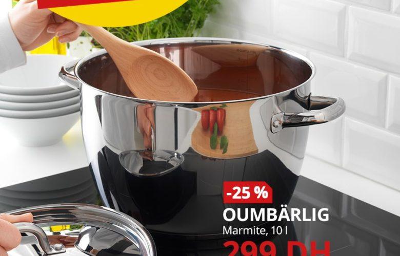 Promo Ikea Maroc Marmite 10L OUMBARLIG 299Dhs au lieu de 399Dhs