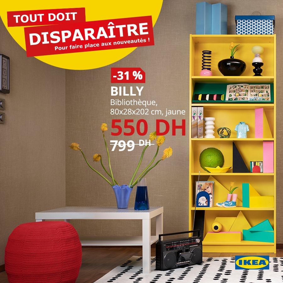 Promo Ikea Maroc Bibliothèque classique BILLY 550Dhs au lieu de 799Dhs