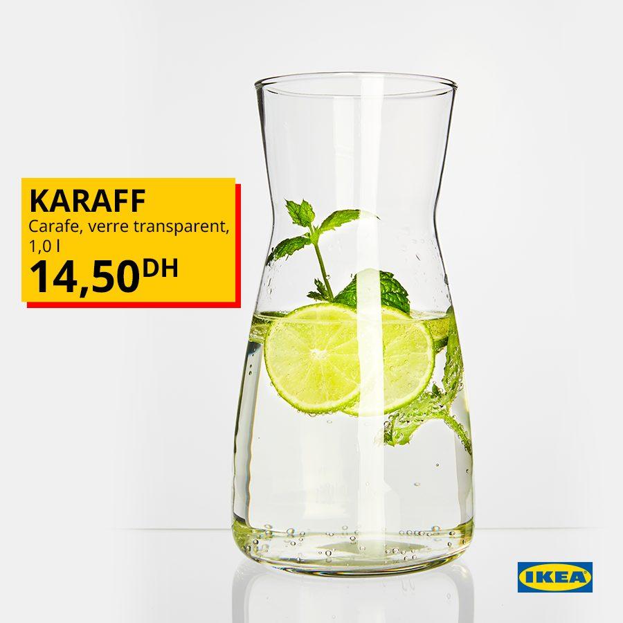 Offre Spéciale Ikea Carafe verre transparent KARAFF 1L 14.50Dhs
