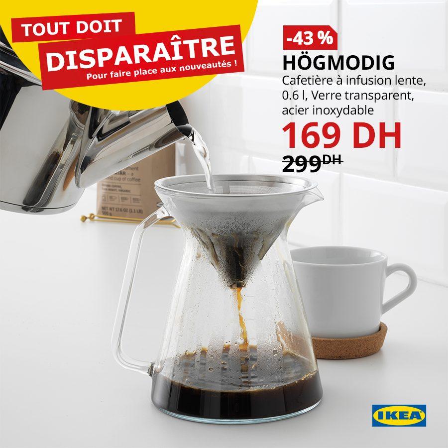 Promo Ikea Maroc Cafetière à infusion lente HOGMODIG 169Dhs au lieu de 299Dhs