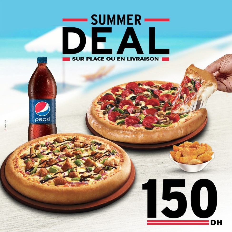 Summer Deal Pizza Hut Maroc 2 pizzas + 1 CHEEZY CRUST 150Dhs