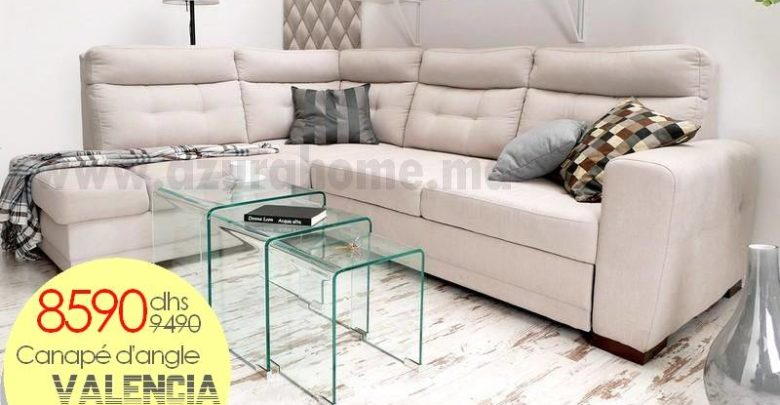 Photo of Promo Azura Home Canapé d'angle convertible Valencia 8590Dhs au lieu de 9490Dhs