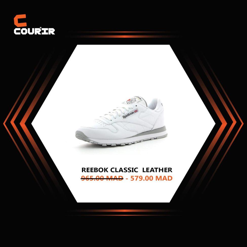 Soldes Courir Maroc Chaussure REEBOK Classic Leather 579Dhs au lieu de 965Dhs