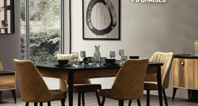 Photo of Soldes Yatout Home Table à manger + 6 chaises EMPOLI 6990Dhs au lieu de 7990Dhs