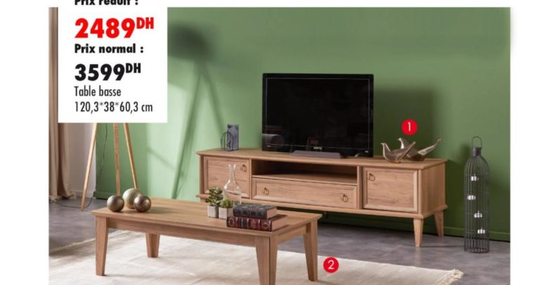 Photo of Promo Kaoba Ameublement Meuble TV + Table Basse DIANA 2489Dhs au lieu de 3599Dhs