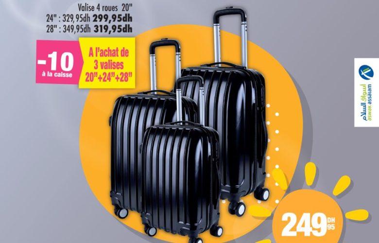 Soldes Aswak Assalam -10 à la caisse à l'achat de 3 Valises TROLLEY