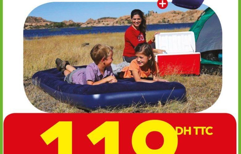 Promo Bricoma Lit Gonflable + Oreiller 119Dhs au lieu de 149Dhs