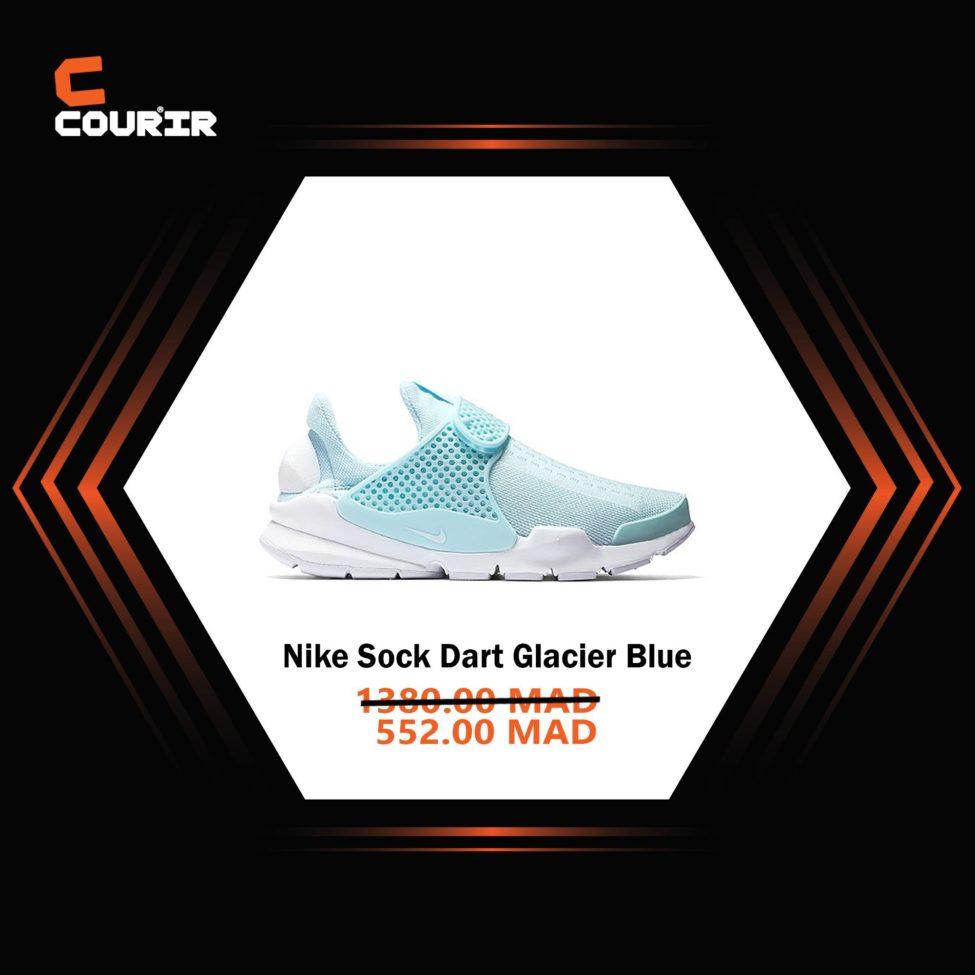 Soldes Courir Maroc Nike Sock Dart Glacier Blue 552Dhs au lieu de 1380Dhs