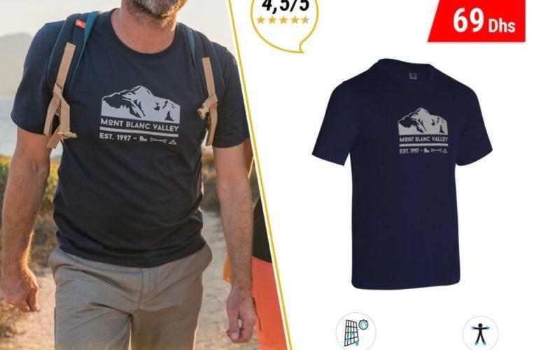 Promo Decathlon Maroc Tee Shirt randonnée Nature 69Dhs au lieu de 89Dhs