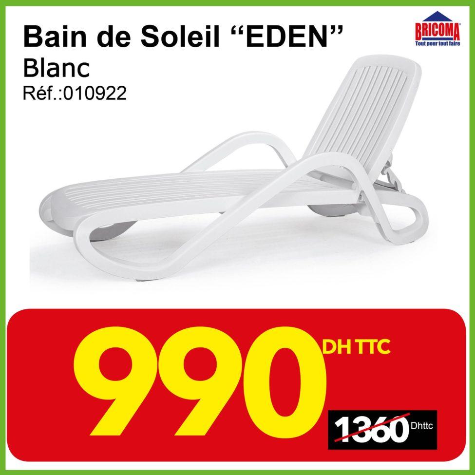 Promo Bricoma Bain de soleil EDEN 990Dhs au lieu de 1360Dhs