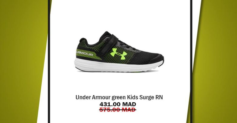 Photo of Soldes Go Sport UNDER ARMOUR green Kids Surge RN 431Dhs au lieu de 575Dhs