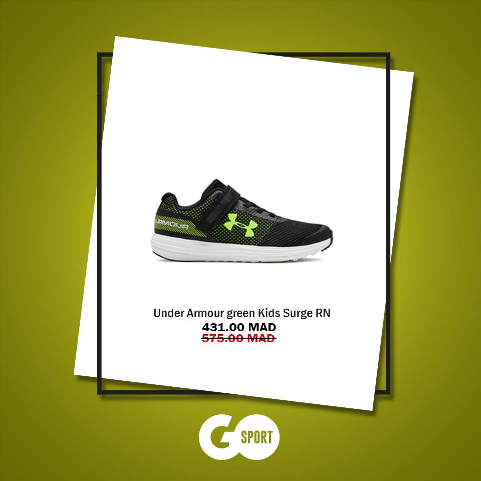Soldes Go Sport UNDER ARMOUR green Kids Surge RN 431Dhs au lieu de 575Dhs