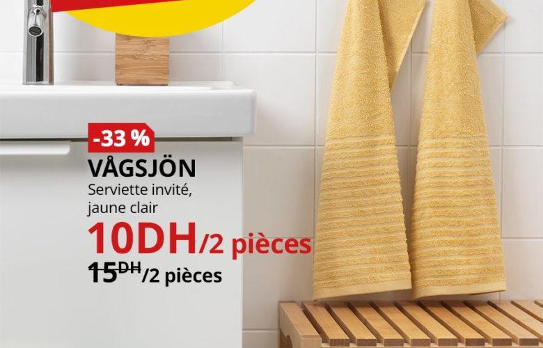 Soldes Ikea Maroc Lot de 2 Serviettes invité VAGSJON 10Dhs au lieu de 15Dhs