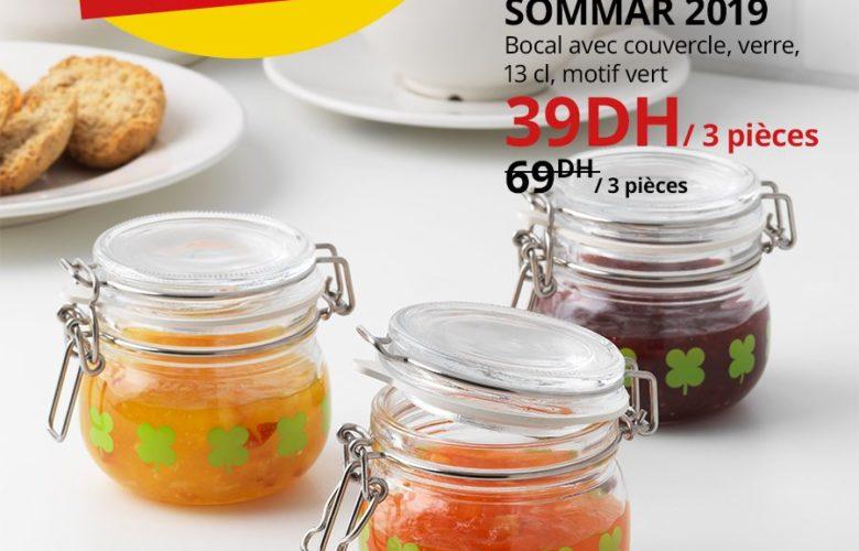 Soldes Ikea Maroc Bocal avec couvercle en verre SOMMAR 39Dhs au lieu de 69Dhs