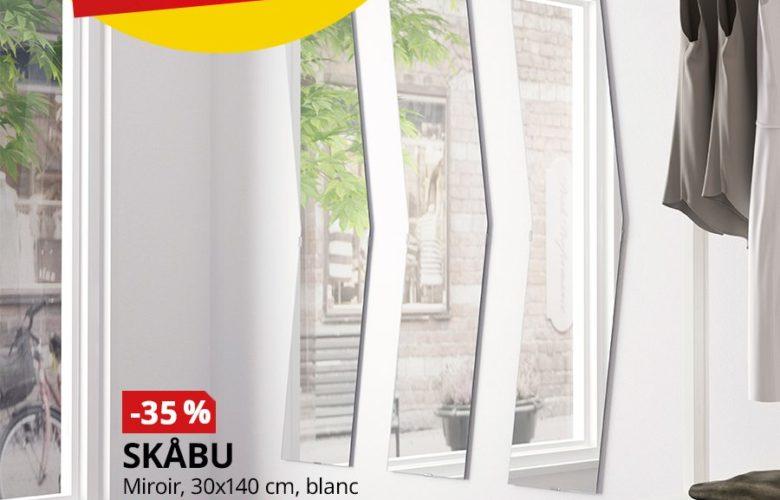 Soldes Ikea Maroc Miroir SKABU 30x140cm blanc 115Dhs au lieu de 179Dhs