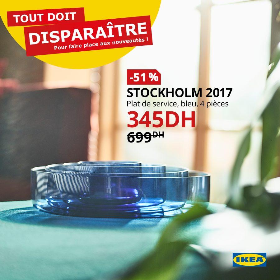 Soldes Ikea Maroc Plat de service 4 pièces STOCKHOLM 345Dhs au lieu de 699Dhs