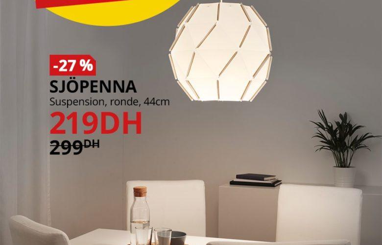 Soldes Ikea Maroc Suspension rond 44cm SJOPENNA 219Dhs au lieu de 299Dhs