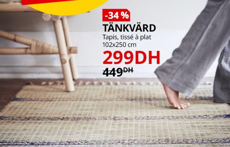 Soldes Ikea Maroc Tapis tissé à plat TANKVARD 299Dhs au lieu de 449Dhs