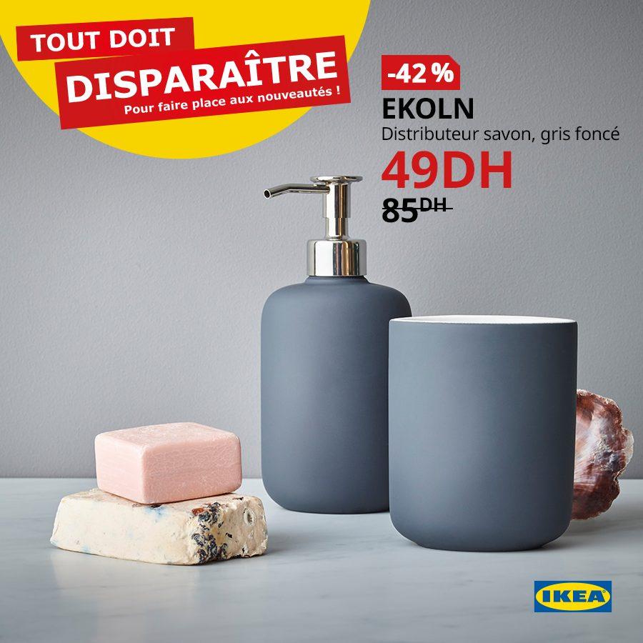 Promo Ikea Maroc Distributeur savon EKOLN 49Dhs au lieu de 85Dhs