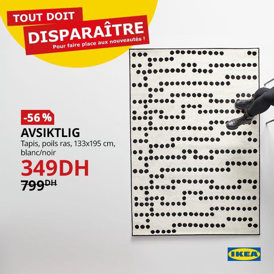 Soldes Ikea Maroc Tapis poils ras AVSIKTLIG 349Dhs au lieu de 799Dhs