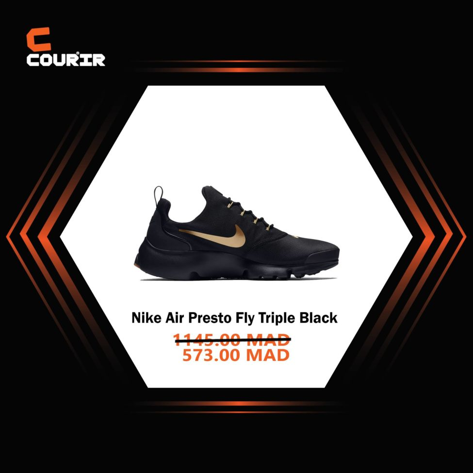 Soldes Courir Maroc Nike Air Presto Fly Triple Black 573Dhs au lieu de 1145Dhs