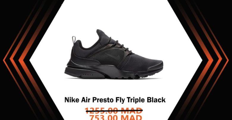 Photo of Soldes Courir Maroc Nike Air Presto Fly Triple Black 753Dhs au lieu de 1255Dhs