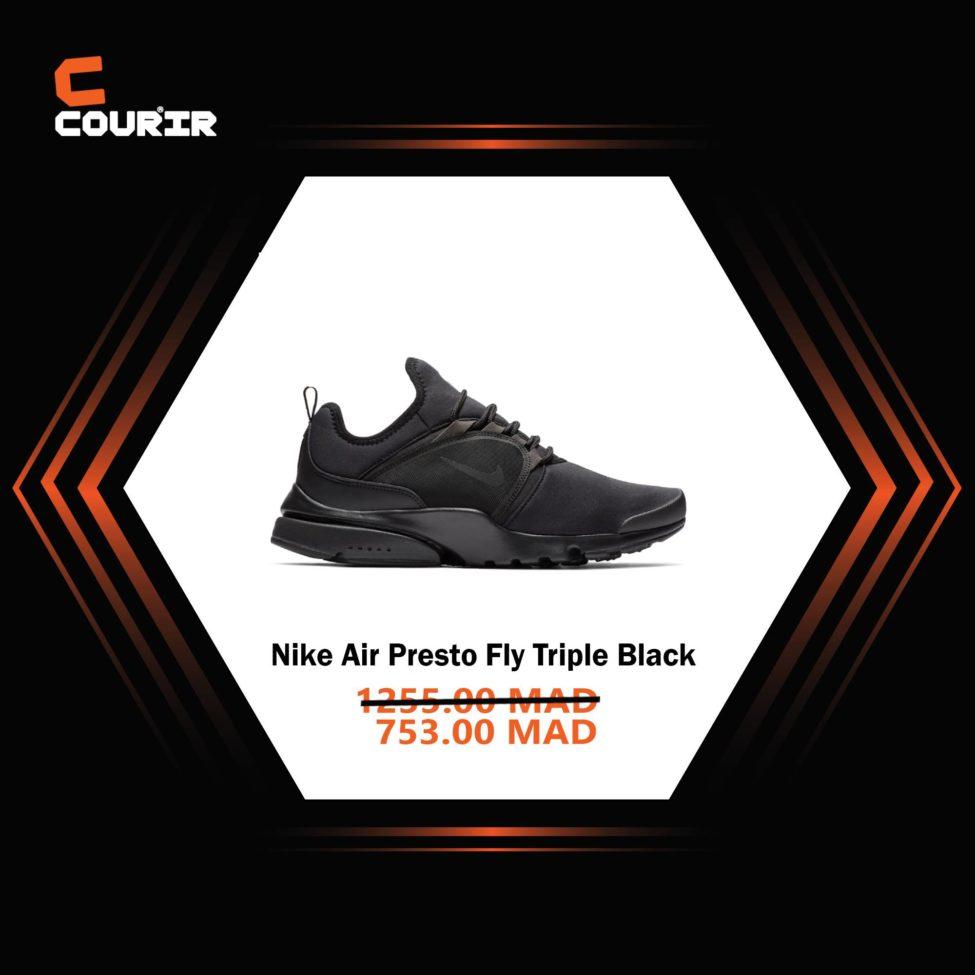 Soldes Courir Maroc Nike Air Presto Fly Triple Black 753Dhs au lieu de 1255Dhs