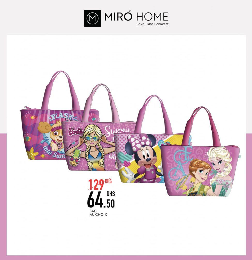 Soldes d'été chez Miro Home Sac au choix pour fille 64Dhs au lieu de 129Dhs